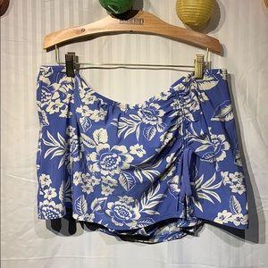 Lands' End blue floral swim skirt w panty